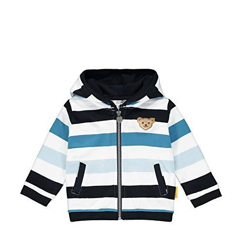 Steiff Baby-Jungen mit Streifen und Teddybärmotiv Sweatjacke, Blau (Black Iris 3032), 74 (Herstellergröße: 074)