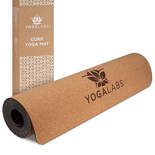 YOGALABS Premium Yogamatte aus Kork und Naturkautschuk | rutschfeste Gymnastikmatte | nachhaltig & schadstofffrei | Set mit 2-in-1 Tragegurt | 186 x 61 x 0,4 cm