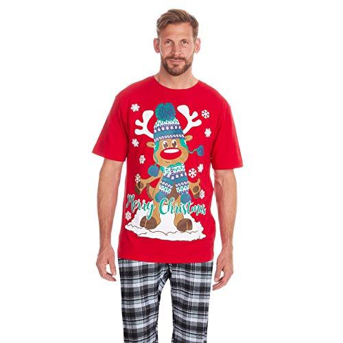 Style It Up - Pijama de Navidad para Hombre Rojo Red Rudolph Reindeer - Christmas Pyjama Set L