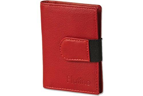Platino - caso de la tarjeta de crédito-XXL con 18 bolsillos para tarjetas de cuero suave, sin tratar con marrón/gris (gris oscuro)
