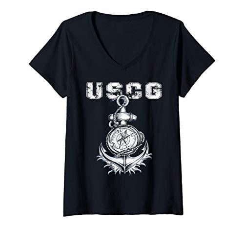 Mujer U.S. COAST GUARD ORIGINAL USCG VINTAGE VETERAN GIFT Camiseta Cuello V