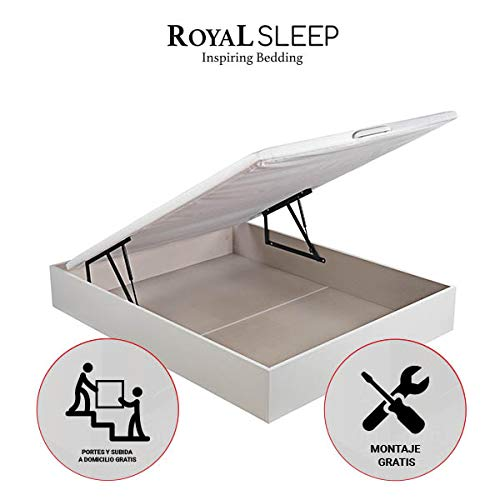 ROYAL SLEEP Canapé Abatible (90x190) de Gran Capacidad, Tapa 3D Transpirable, Color Blanco