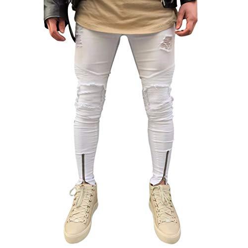 HOMEBABY Heren Ripped Slim Fit Jeans Wit Biker Casual Jongen Denim Broek Katoen Vintage Wash Hip Hop Werk Broek Herfst