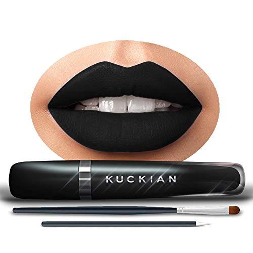 DELETERIOUS, by Kuckian - Matte Black Lipstick, Brush & Diamonds - ULTRA LONG LASTING - Vegan & Cruelty Free