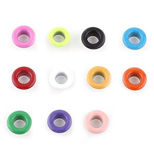 Fdit Color Mezclado 100 Unidades, Ojales metálicos, para Scrapbooking, Manualidades, Cuero, Ropa, Accesorios (Color Mixto)