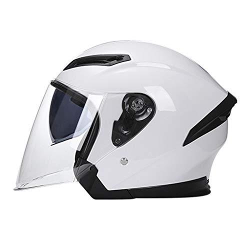 DJCALA Motorhelmen Elektrische Fietsen Mannen en Vrouwen Mode Vier Seizoenen Semi-Overdekte Anti-Fog Helmen Motorfiets Scooter Touring Helm (56-62cm)