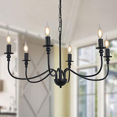 6 Lights Black Chandelier ,Wrought Iron Farmhouse Chandelier Candle Rustic Hanging Pendant Light Fixtures for Dining Room,Bedroom, Kitchen, Bathroom,Living Room,Breakfast Nook