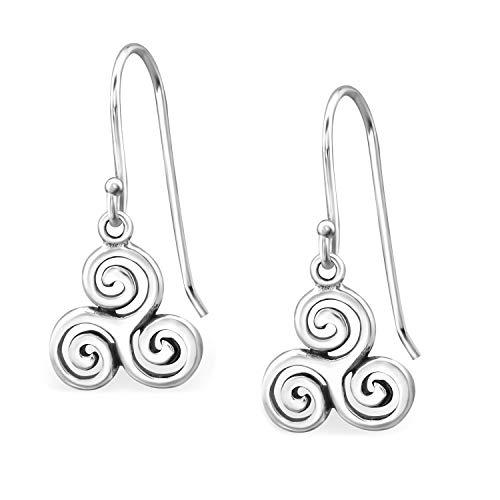 10mm Celtic Triskelion Spiral Shepherd Fish Hook 925 Sterling Silver Earrings