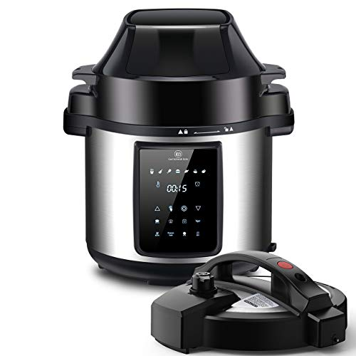 6Qt Pressure Cooker and Air Fryer Combos, Multi-Cooker with Pressure & Crisping Lid, Steamer Cooker, 1500W Pressure Rice Cooker, LED Touchscreen, 3-Qt Air Fry Basket, Air Fryer with Free Recipe Book
