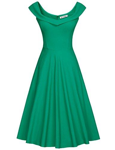 MUXXN Lady's Retro Peter Pan Collar Pattern Formal Dress (S New Green)