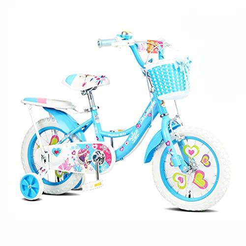 ZXQZ Bicicletas para Niños de 2-3-6-8 Años, Bicicleta Princesa para Niñas de 12/14/16/18 Pulgadas, Asiento Ajustable (Color : Blue 2, Size : 14'')