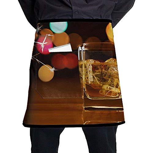 FJXXM Taille Korte schort Half Chef Schort Whisky Kleurrijke Patroon Koken Schort Met Zakken Thuis Keuken Koken Pinafore