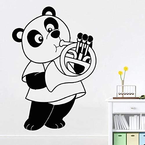 Tianpengyuanshuai Panda spelen hoorns muursticker slaapkamer panda muziek kamer muurschildering vinyl muur sticker