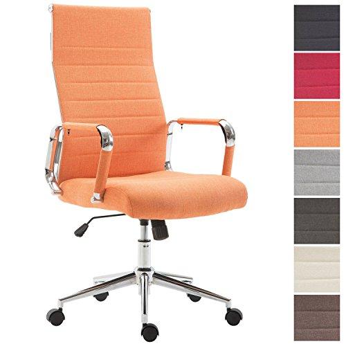CLP Bürostühl KOLUMBUS mit Stoffbezug und Laufrollen | Chefsessel mit Lehne | Höhenverstellbarer ergonomischer Bürosessel erhältlich Orange