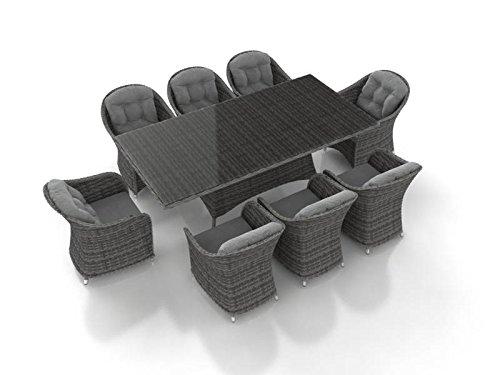 ARTELIA Velia XL Rattan Esstisch Set, Gartenmöbel-Set für Garten, Terrasse, Wintergarten und Balkon, Sitzgruppe Ocean