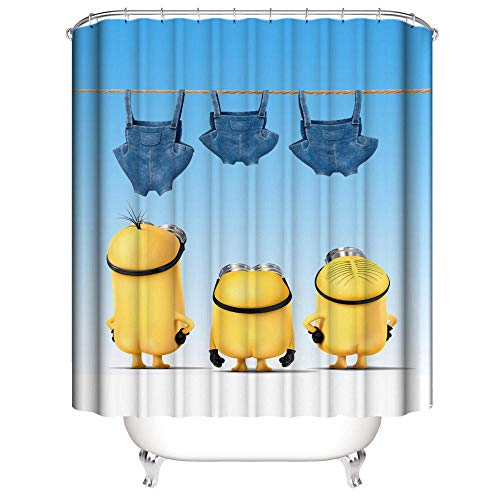 SUGOO Duschvorhang 3D Minions dekorativer Duschvorhang wasserdicht und schimmelresistent Polyester% Haushalt Erwachsene und Kinder 150 * 180cm
