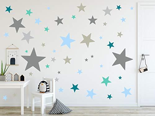 timalo® 120 Stück Wandtattoo Kinderzimmer XL Sterne Pastell Wandsticker – Aufkleber | 73079-SET9-120