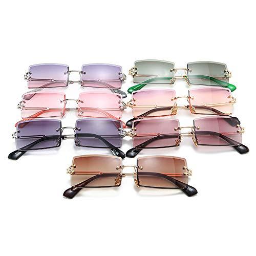 Fashion Rimless Sunglasses Women 2020 Trendy Small Rectangle zonnebril reizen van de zomer Stijl UV400 Gold Brown Shades voor vrouwen,Pink