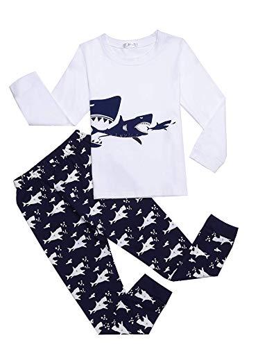 Bricnat Schlafanzug Jungen Langarm Baumwolle Pyjama Kinder Zweiteiliger Nachtwäsche Set Dinosaurier,Hai, Sternenhimmel, Feuerwehrauto,Bulldozer 3-11 Jahre Weiß 130