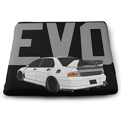 ADGoods Quadratisches Kissen Sitzkissen Mitsubishi Evolution Evo Triple Diamond Tuner Printed Seat Cushion Memory Foam Seat Cushion Size 35 X 38 X 3 (cm)