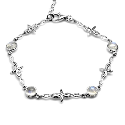 Silvershake Natural Moonstone 925 Sterling Silver Intertwined Cross 7 to 8.5 Inch Adjustable Bracelet
