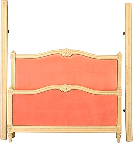 Learn More About EuroLuxHome 1920 French Bed Full-Sized Louis XVI Cream Wood Pink Silk Velvet Uphols...