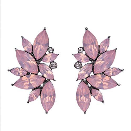 QiXuan Mujer Bohemio 14K Pendientes de lágrima de flores plateadas con plata Embutido relleno Pendientes de perno prisionero de circonio cúbico (Rosa)