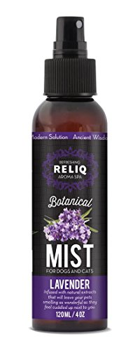 RELIQ Aroma SPA Lavender Botanical Mist cologne for Dogs and Cats. Spray on the coat after bath to give your dog a clean & fresh smell. Infused with natural extracts, calming and comforting dog & cat.