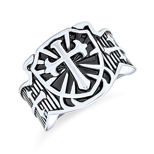 Bling Jewelry Escudo Vikingo Religiosa Maltasa Fleur De lis Cruz Banda Signet Anillo para Hombres Tono Plata De Acero Inoxidable