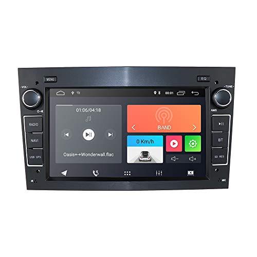 hizpo Android 10 Radio de Coche con navegación GPS Bluetooth 7 Pulgadas Pantalla táctil para Opel Antara Vectra Crosa Vivaro Zafira Meriva Apoyo Volante Control WiFi 4G USB SD CAM-In Dab + (Negro)
