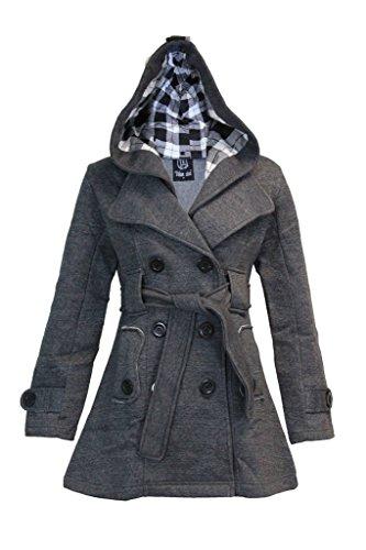 숙녀 여자 후드 벨트 트렌치 맥 플리스 자켓 코트 크기 4-22