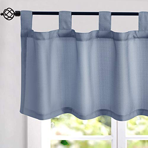 Heather Blue Window Valances Faux Linen Like Curtains 16 inches Long Tab Top Curtain for Living Room Bedroom Short Basement Window Treatments 1 Panel