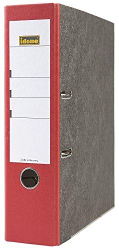 Idena 303062 - Ordner für DIN A4, 8 cm breit, FSC-Mix, Wolkenmarmor, rot, 1 Stück