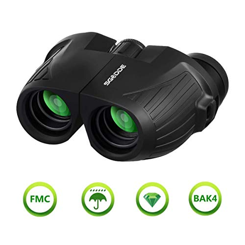 12x25 HD Mini Binoculars for Adults and Kids, SGODDE Compact Folding Binoculars with Low Light Night Vision, Waterproof Binocular for Outdoor Hunting, Bird Watching, Shooting, Sports Games (12x25)