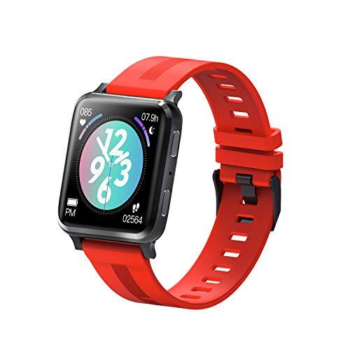 KUKU Reloj Inteligente, Monitor de Ritmo cardíaco, Reloj Digital Impermeable IP67, Reloj de Fitness para Mujeres para Hombres con podómetro Calorie Sleep Tracker,Rojo
