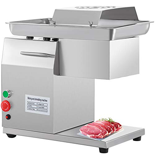 BestEquip Commercial Meat Cutter Machine 1100 LB/H 3mm Stainless Steel with Pulley 600W Electric Food Cutting Slicer for Kitchen Restaurant Supermarket Market, 18x12 inch, Sliver