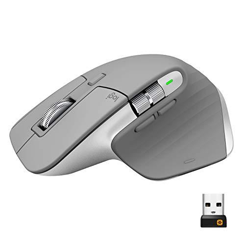 Logitech MX Master 3 Mouse Wireless Avanzato, Ricevitore Bluetooth o USB 2.4 GHz, Scorrimento Ultrarapido, 4000 DPI Qualsiasi Superficie, Ergonomico, 7 Pulsanti, PC/Mac/Laptop/iPadOS, Grigio (Chiaro)