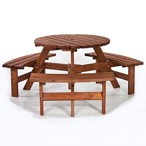 BrackenStyle Brentwood Picnic Table - Round Pub Bench - Durable Wooden Patio Table 6 Person (Brown)