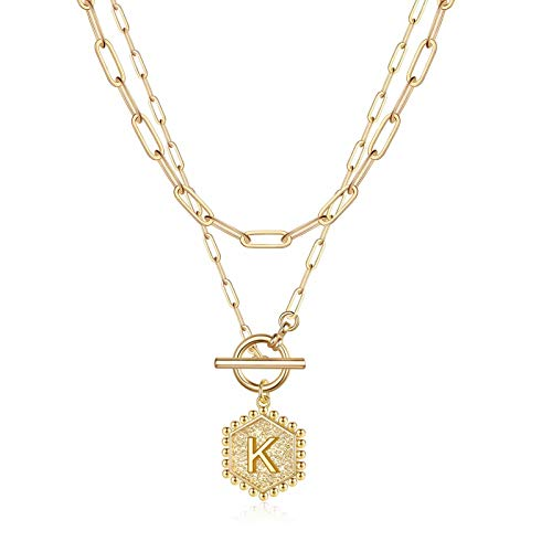 Dainty Layered Initial Necklaces for Women, 14K Gold Plated Paperclip Link Chain Necklace for Women Dainty Hexagon Letter Pendant Initial K Necklace Choker Necklaces Gold Layering Necklaces for Women