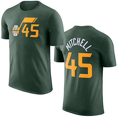 T-Shirt NBA da Uomo, Utah Jazz # 45 Donovan Mitchell NBA Basketball Manica Corta, T-Shirt Sportiva da Basket Traspirante della Nuova Stagione,Verde,M