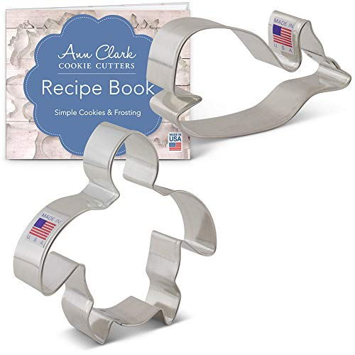 Ann Clark Cookie Cutters 2-Piece Sea Life Cookie Cutter Set with Recipe Booklet, Sea Turtle and Cute Whale