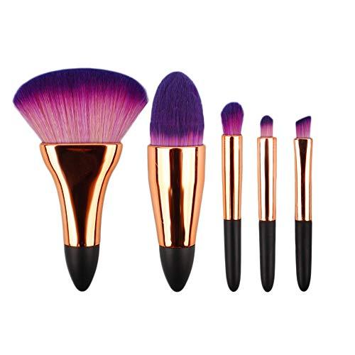 Mini Brochas de Maquillaje,5pcs Set de brochas portátiles de Maquillaje Corto,en Polvo...