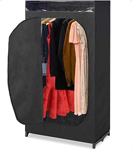 """Whitmor Portable Wardrobe Clothes Closet Storage Organizer with Hanging Rack - Black Color - No-tool Assembly - See Through Window - Washable Fabric Cover - Extra Strong Durable - 1975 x 36 x 64"""""""