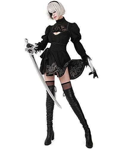 miccostumes Women's No 2 Type B Cosplay Leotard Skirt with Hairband Leggings (Women m) Black
