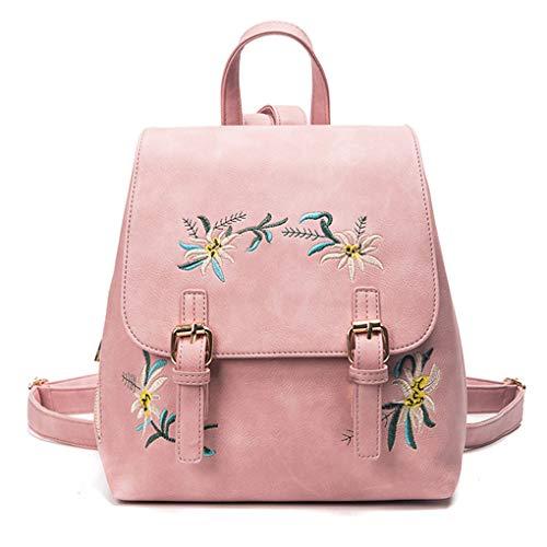 censhaorme Girls PU Leather Flower Embroidery Backpack Women Anyi-Theft School Shoulder Bag Daypack Handbag