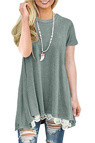 NICIAS Damen Sommer Kurzarm T-Shirt Pullover Rundhals Spitze Tunika Top Lässige Oberteil Bluse Shirt Grün 01 S