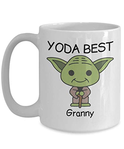 Yoda Best Granny - Tazas de regalo novedosas para fanáticos de Star Wars - Regalo de cumpleaños de compañeros de trabajo, aniversario, San Valentín, ocasión especial, papás, mamás, familia, Navidad -