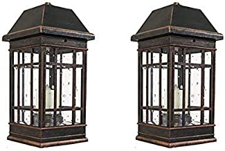 Smart Solar 3960KR1 San Rafael II Solar Mission Lantern Illuminated by 2 High Performance Warm White LEDs in The Top and One Amber LED in The Pillar Candle (Pack of 2)