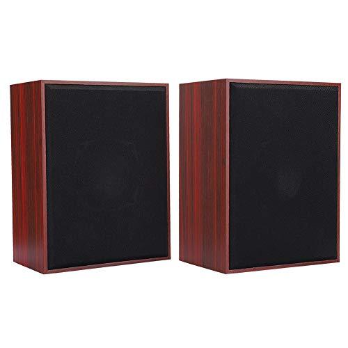 Luidspreker voor computer, Woodiness USB-tafel kleine luidspreker, 360 ° stereofoon geluid, handgemaakte houten kist, hoge gevoeligheid, voor desktoplaptop(rood)