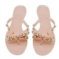 TYFLOVE Women Pearls Bow Flip Flops Jelly Thong Sandals Rubber Flat Summer Beach Rain Shoes
